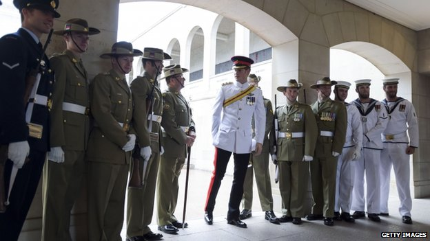 Prince Harry with Australian service personnel