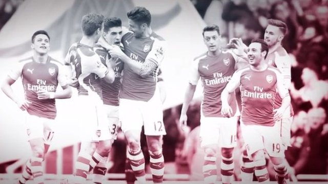Arsenal celebrate their 4-1 victory over Liverpool