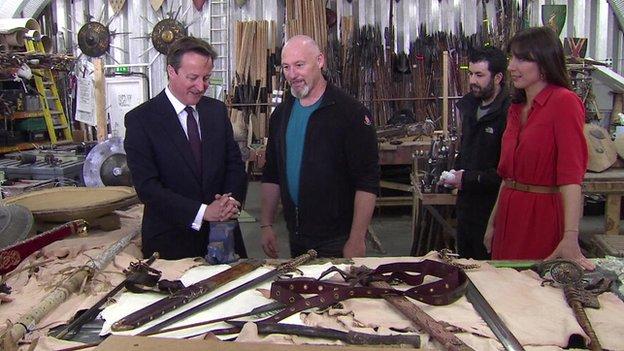 David Cameron touring a film studio in Belfast