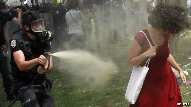 A Turkish riot policeman uses teargas against a woman as people protest against a development plan for Gezi park in Taksim Square in central Istanbul on 28 May 2013