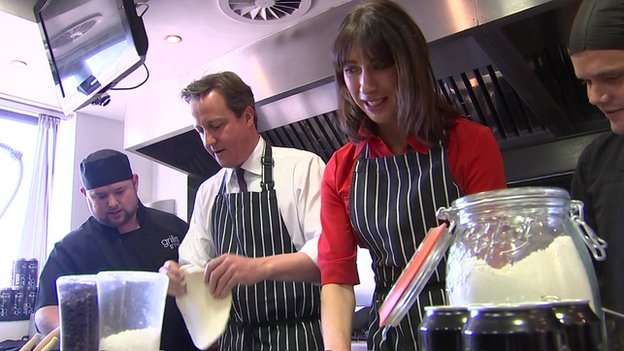 David and Samantha Cameron during a visit to the Brains brewery in Cardiff