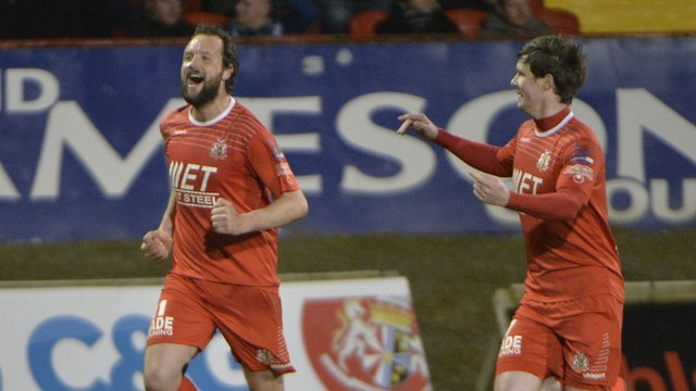 Portadown's Tim Mouncey celebrates his late winner against Crusaders