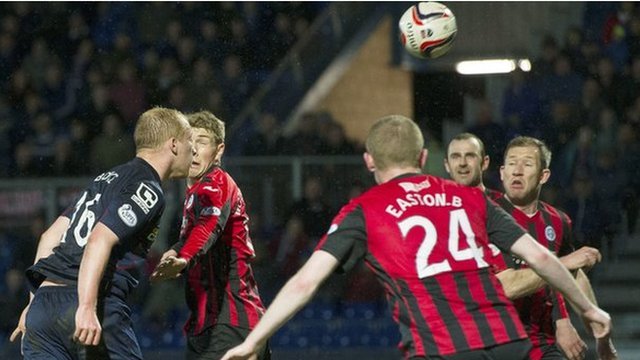 Liam Boyce nods in the only goal at Victoria Park