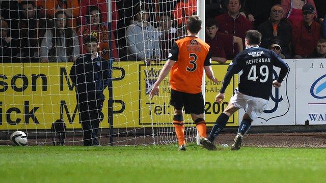 Paul Heffernan scores for Dundee against Dundee United