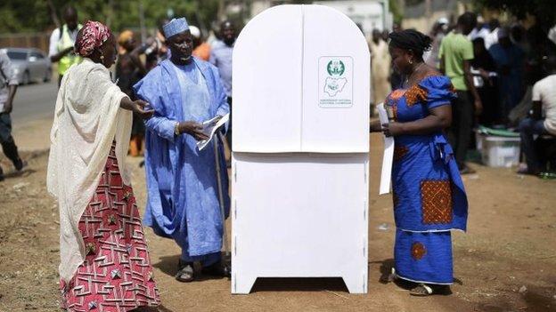 Nigerians vote in Kaduna, Nigeria - 28 March 2015