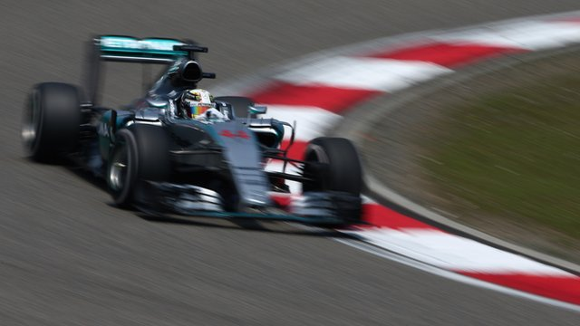 Lewis Hamilton drives in practice for the Chinese GP