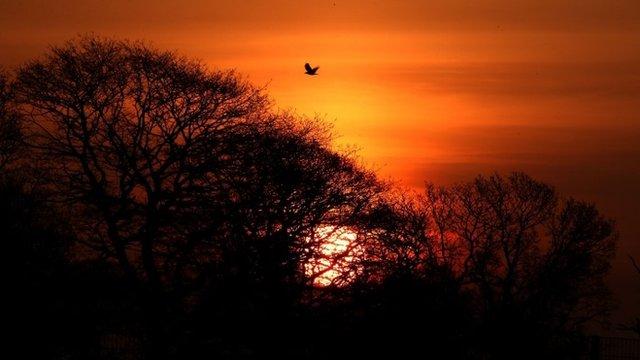 Sun rises over Bannockburn, Scotland