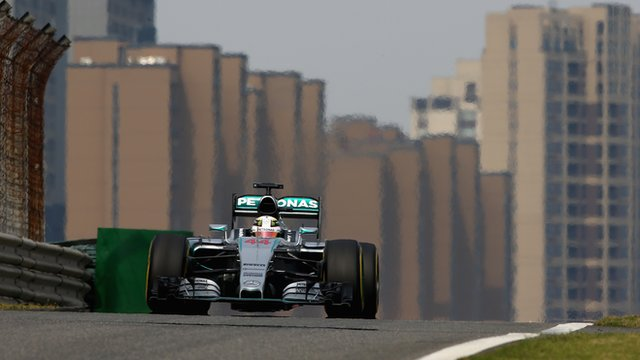 Mercedes' Lewis Hamilton drives in practice for the Chinese Grand Prix
