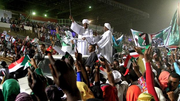 Omar al-Bashir in a crowd in Omdurman on 10 April 2015