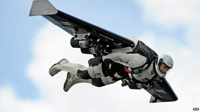 A file photo of Yves Rossy using a jet pack