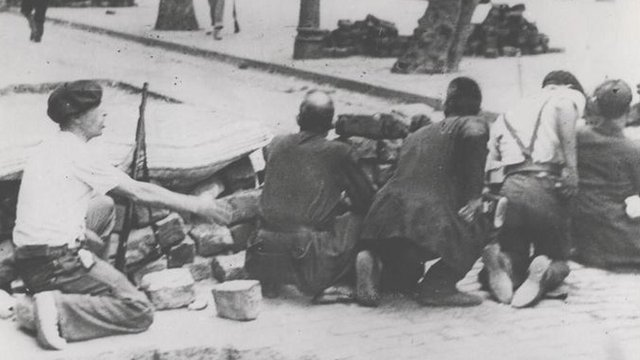 Left-wing fighters during the Spanish civil war