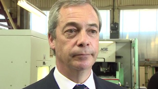 UKIP leader Nigel Farage speaking on a campaign visit to Clacton
