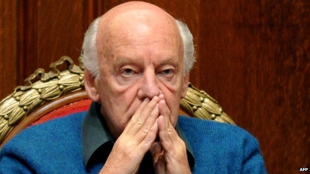 Eduardo Galeano during the first Mario Benedetti Foundation international Human Rights prize ceremony in Montevideo in September 2011
