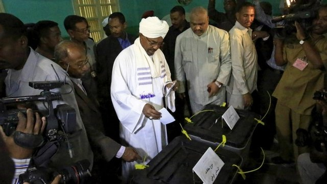 Sudan's President Omar al-Bashir casts his vote