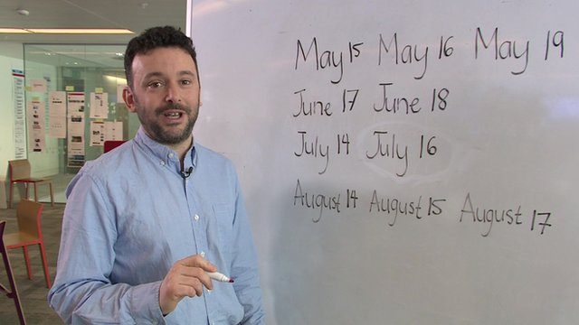 Alex Bellos with logic problem on white board