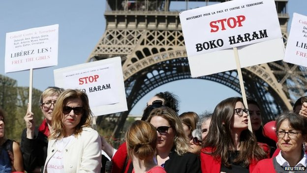 "Former French first lady Valerie Trierweiler (L) attends a ""Bring Back Our Girls"" gathering near the Eiffel Tower in Paris, 14 April 2015"