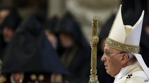 Pope Francis with Armenian clergy at service at St Peters Rome - 12 April