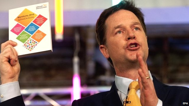 """Nick Clegg launches the party""""s general election manifesto"""