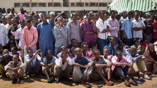 Kenyan crowd listens to speeches denouncing al-Shabab attacks