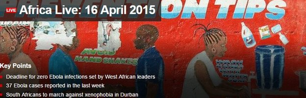 BBC Africa Live page screen grab