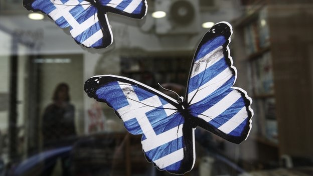 Butterflies with Greek flag