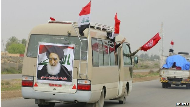 A poster of Iraq's Grand Ayatollah Sistani on a Popular Mobilisation vehicle in Tikrit (30/03/15)
