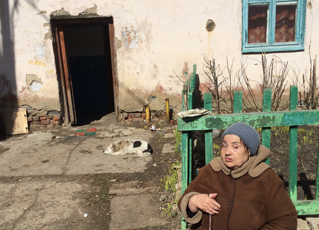Woman in poor area of Oryol