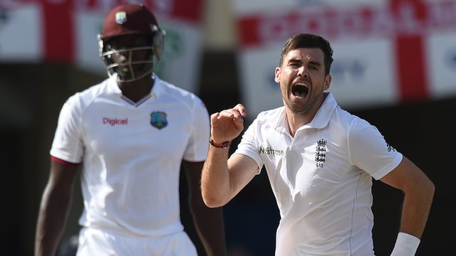 James Anderson celebrates breaking the record