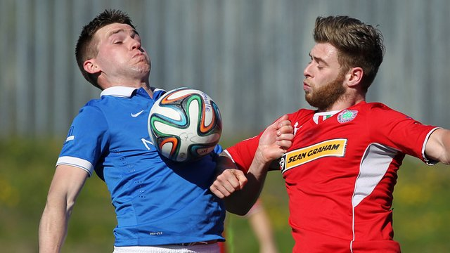 Match action from Cliftonville against Linfield