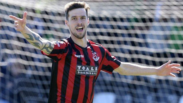 Declan Caddell celebrates scoring for Crusaders against Glentoran