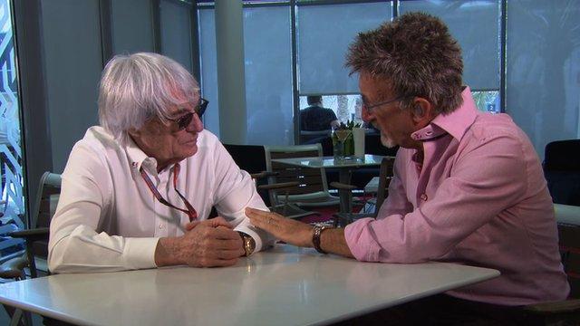 F1 supremo Bernie Ecclestone discusses the state of the sport with BBC F1 expert Eddie Jordan