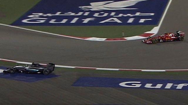 Mercedes' Nico Rosberg runs wide at the Bahrain GP, allowing Ferrari driver Kimi Raikkonen to overtake