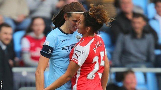 Women's Super League: England's Jill Scott sent off for headbutt