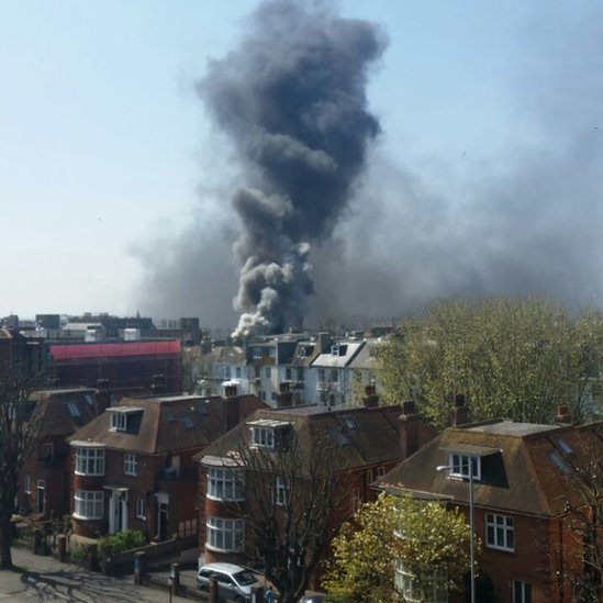 Fire at Hove Town Hall