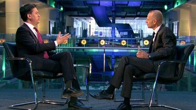 Ed Miliband and presenter Evan Davis