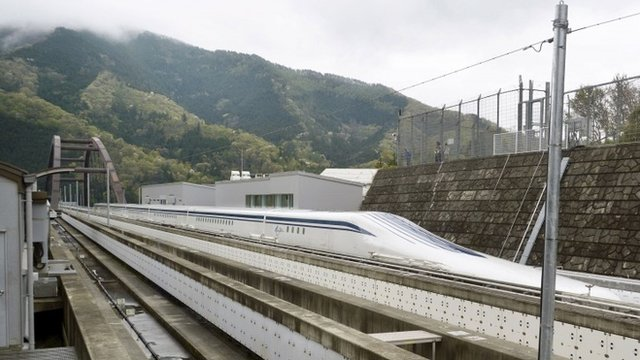 The Maglev train on the experimental track