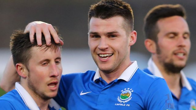 Linfield scorer Michael Carvill is congratulated by team-mate Stephen Lowry