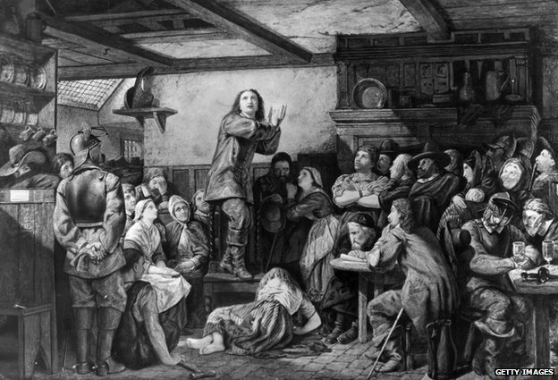 George Fox preaching in a tavern, circa 1650. Original Artwork: Painting by E Wehnert