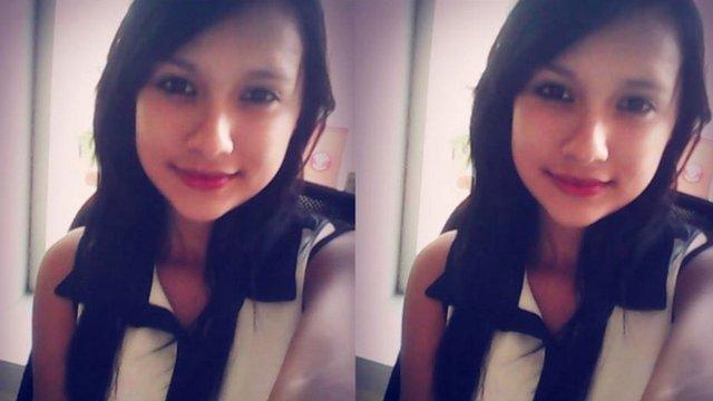 two matching pictures of teenage girl Paula Mejia