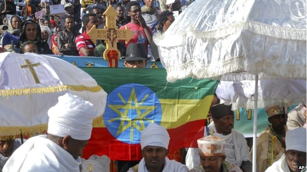 Orthodox Christians at the Addis Ababa rally in Ethiopia - Wednesday 22 April 2015