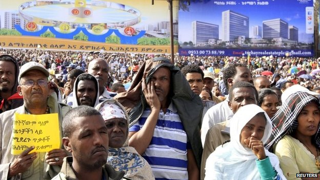People at a rally in Ethiopia's capital the Addis Ababa, 22 April 2015