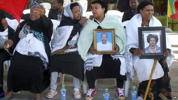 Relatives of some of the victims at the rally in Meskel Square