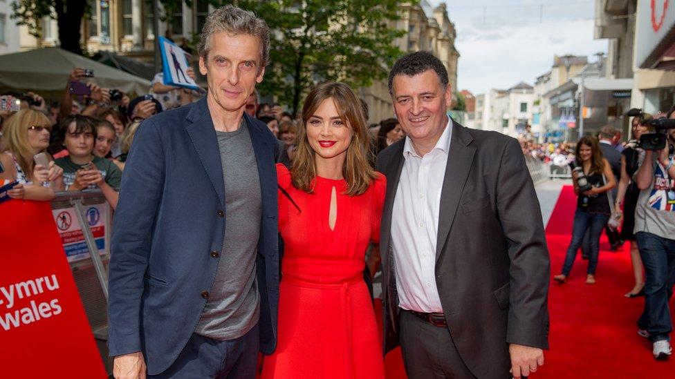 Peter Capaldi, Jenna Coleman and Steven Moffat