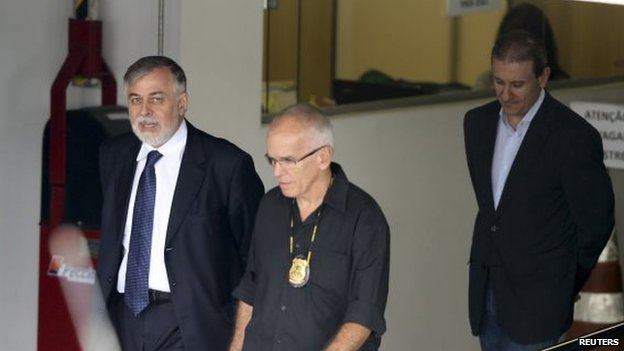 Former supply director of Petrobras Paulo Roberto Costa (left) and businessman and money changer Alberto Youssef (R) are escorted by federal police at Federal Police headquarters in Curitiba February 13, 2015.