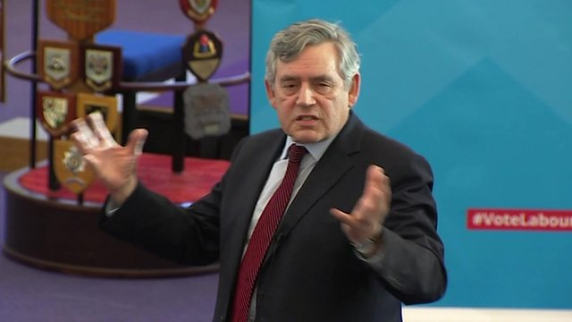 Gordon Brown mid-speech