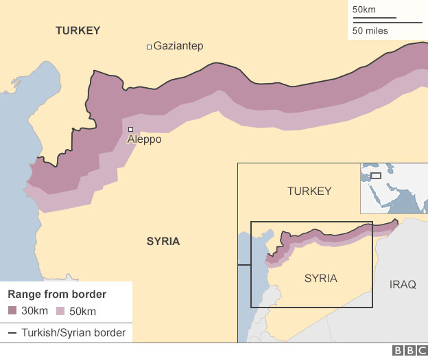 A map of the Syria Turkey border and the range of the drones