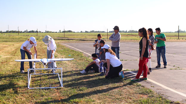 Children watching on the airfield