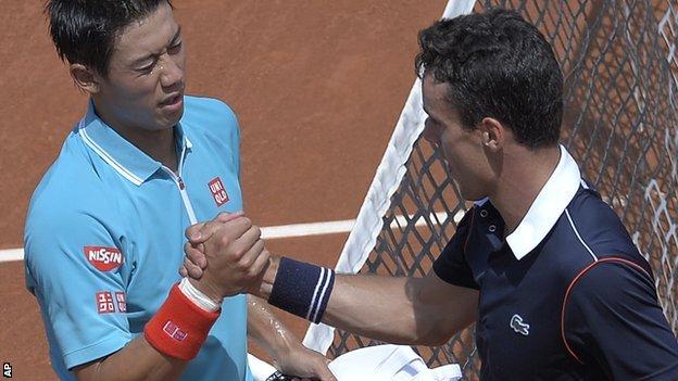 BBC Sport - Kei Nishikori & David Ferrer advance to Barcelona semi-final