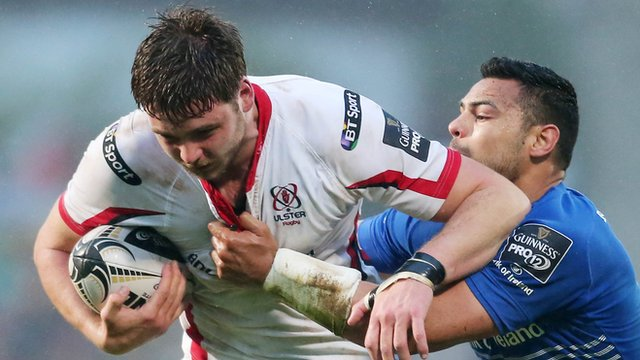 Iain Henderson battles with Ben Te'o in Ulster's 26-10 Pro12 win over Leinster