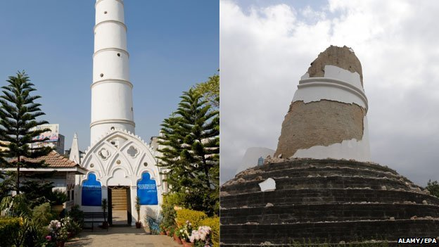 Kathmandu's landmark Dharahara tower before and after the earthquake